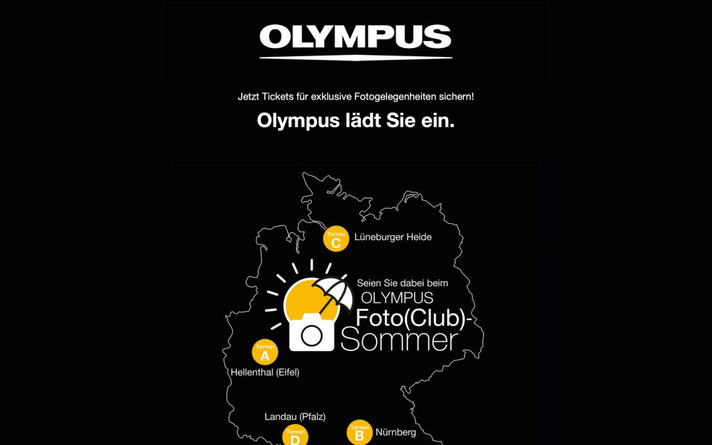 Landing Page Olympus Fotosommer 1